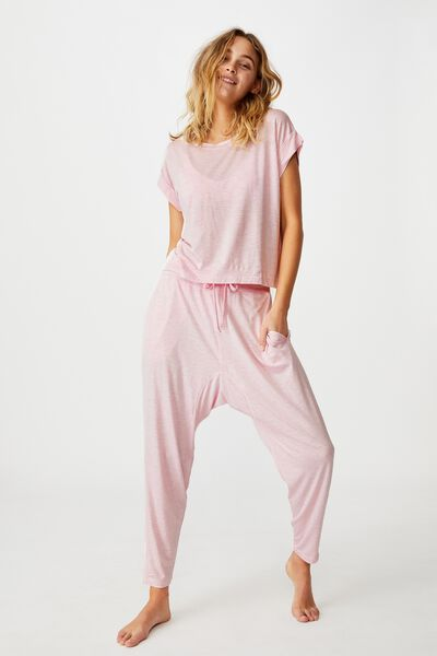 Sleep Recovery Drop Crotch Pant, BALLERINA STRIPE