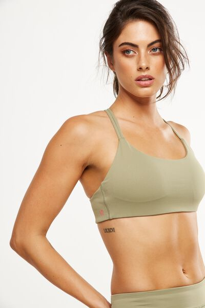 Elastic Back Crop, HIKING GREEN