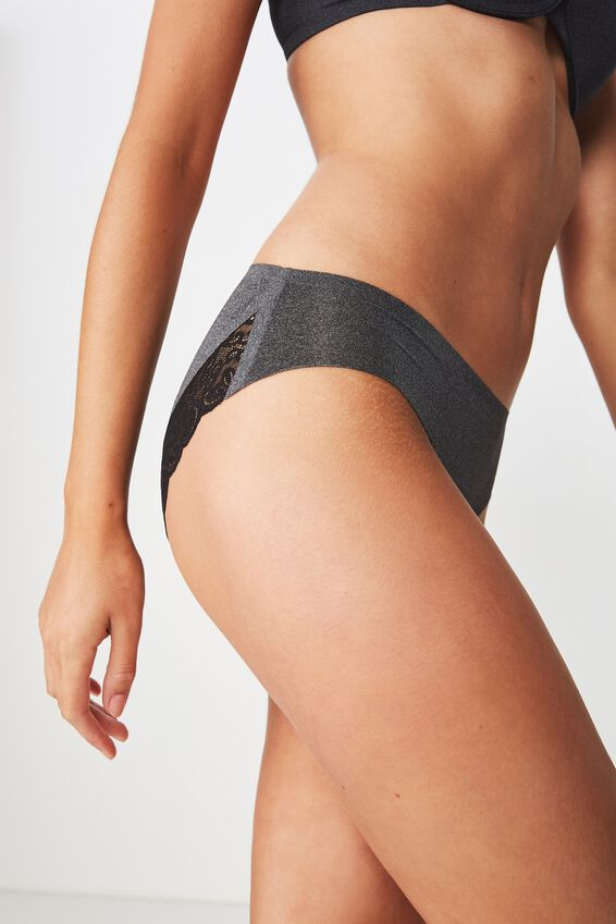 Party Pants Seamless Bikini Brief, CHARCOAL/BLACK