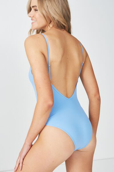 Macy Trim V Neck One Piece Cheeky, RIVIERA BLUE