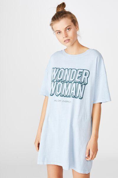 90 S Tshirt Nightie, LCN WB WONDERWOMAN/WASHED BALTIC BLUE