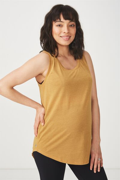 Maternity Slouchy Scoop Neck Tank, GOLDEN CHAI