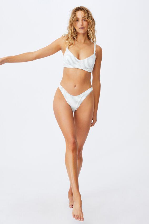 Refined High Side Brazilian Bikini Bottom Terry, PALE BLUE TERRY STRIPE
