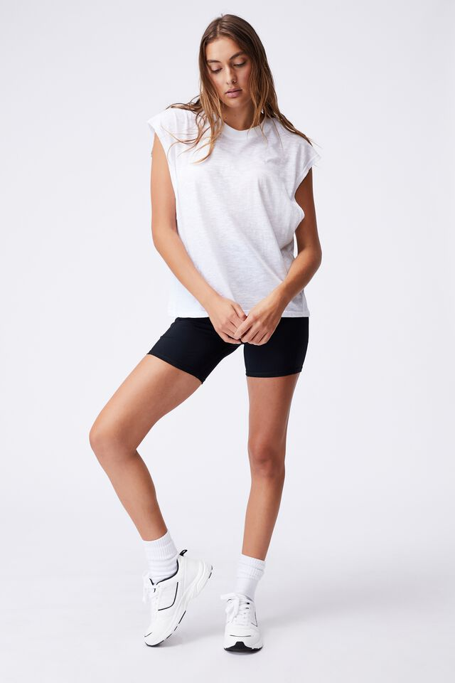 Lifestyle Slouchy Muscle Tank, WHITE