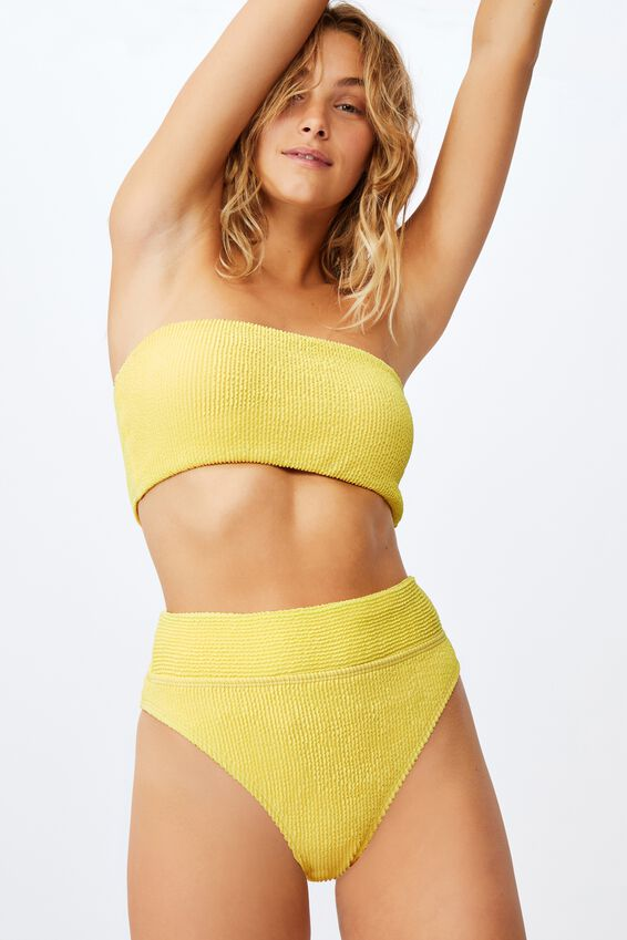 Highwaisted Cheeky Bikini Bottom Crinkle, PASTEL LEMON CRINKLE