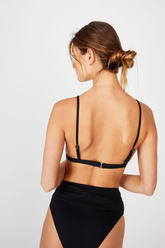 Fixed Triangle Bikini Top, BLACK TEXTURE