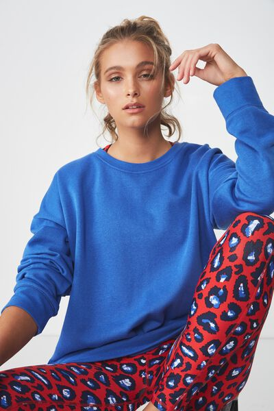 Long Sleeve Fleece Crew Top, REEF