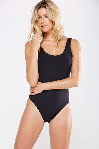 Charley Thick Strap One Piece Cheeky, BLACK