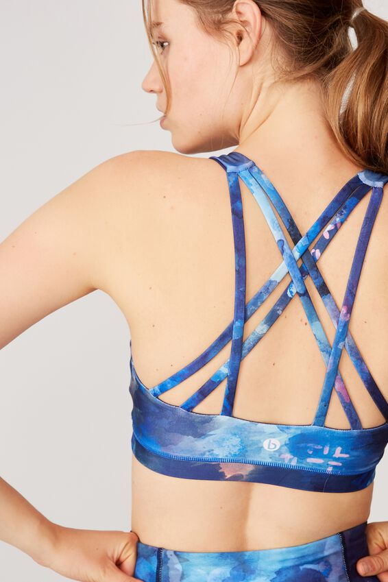 Strappy Sports Crop, NEON WATER COLOUR