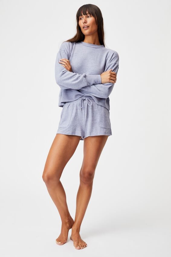 Super Soft Pocket Short, PERIWINKLE MARLE