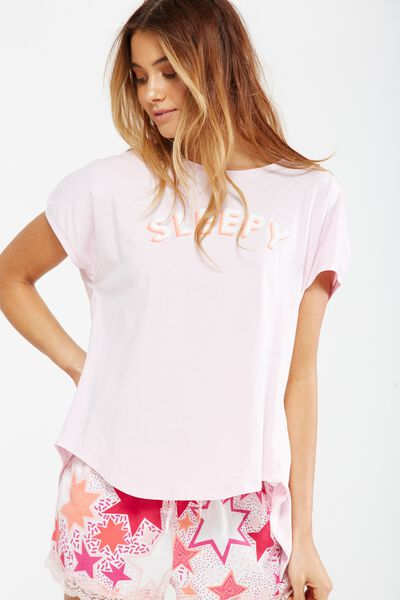 Match Back Short Sleeve Tie Top, ICY LILAC/SLEEPY