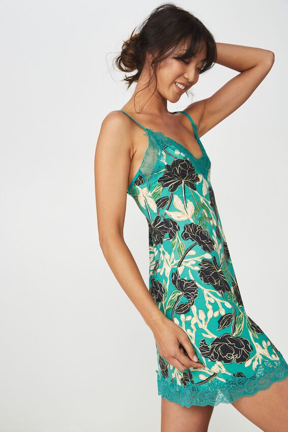 Lace Slinky Nightie, GREEN FLORAL