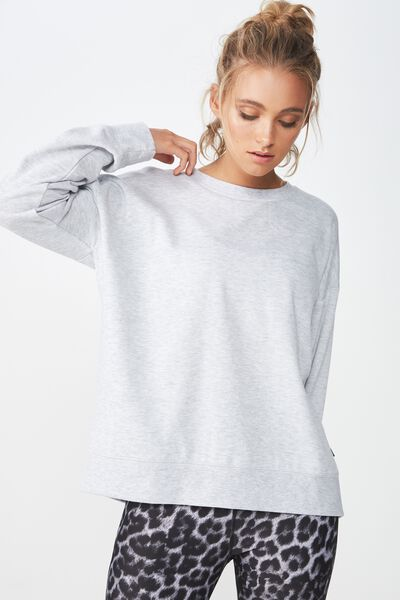 Long Sleeve Fleece Crew Top, CLOUDY GREY MARLE