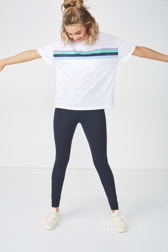 Boxy Slub T Shirt, WHITE / SPLICED