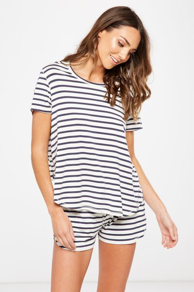 Sleep Recovery Curved T Shirt, HORIZONTAL STRIPE