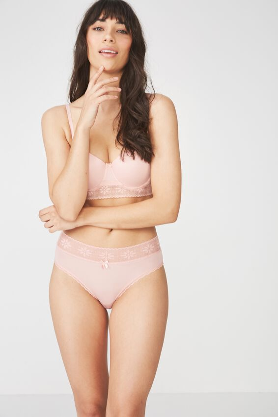 High Waist Lace Trim Cheeky Brief, PEONY PINK