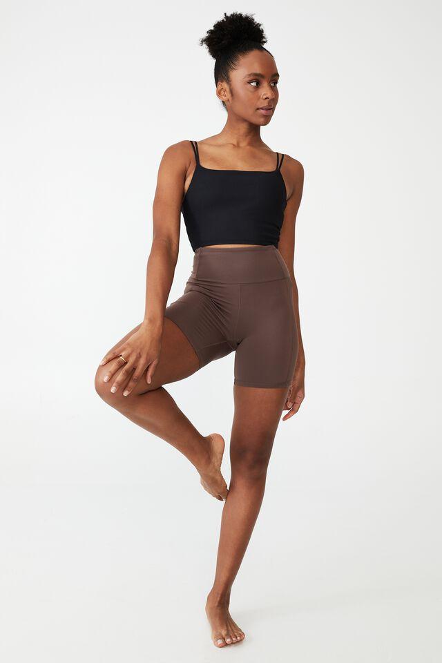 Highwaisted Yoga Bike Short, BROWNIE