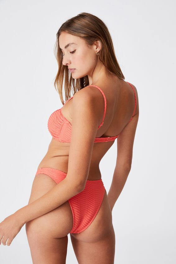 Refined High Side Brazilian Bikini Bottom, BURNT ORANGE TEXTURE