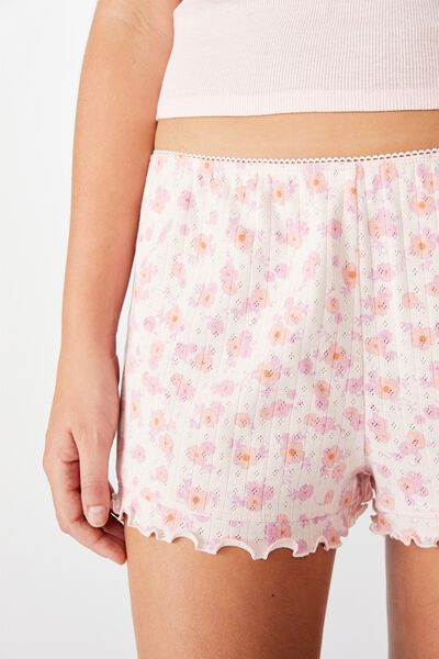Pointelle Boxer Short, SCATTERED FLORAL/CRYSTAL PINK