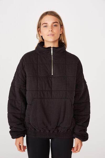 Quilted Zip Through Fleece, WASHED BLACK