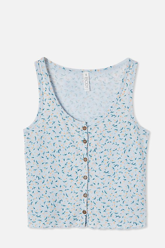 Waffle Bed Time Tank, LITTLE BUD/BABY BLUE