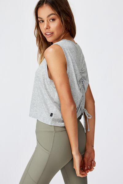 Active Ruched Muscle Tank, GREY MARLE