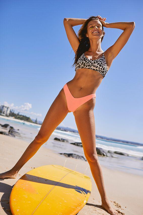 V Neck Bralette Bikini Top, CHEETAH JACQUARD