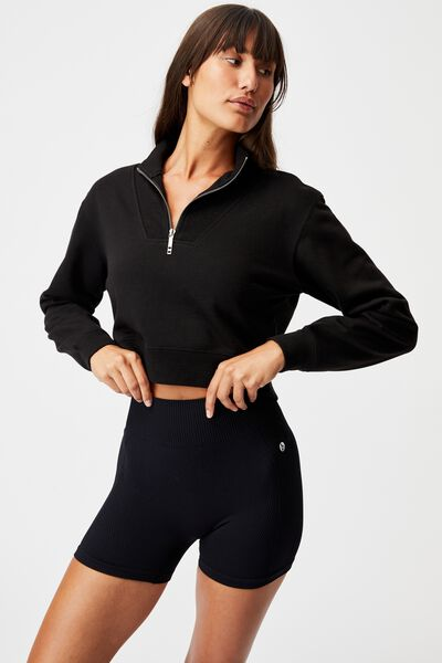 Lifestyle Getting Out Half Zip Fleece, BLACK