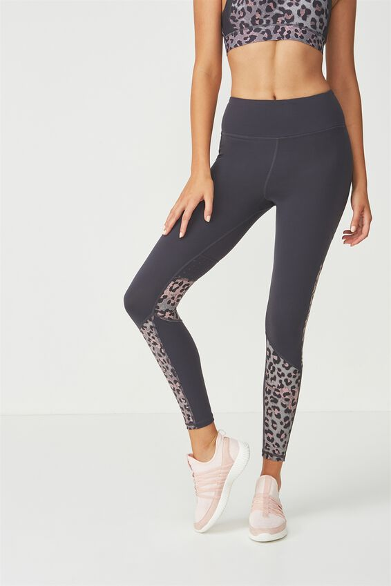 Tempo Mesh Panelled Tight, SHADOW/LOVELY LEOPARD THISTLE