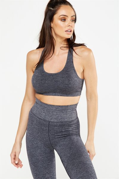 Strappy Seamfree Crop, CHARCOAL MARLE