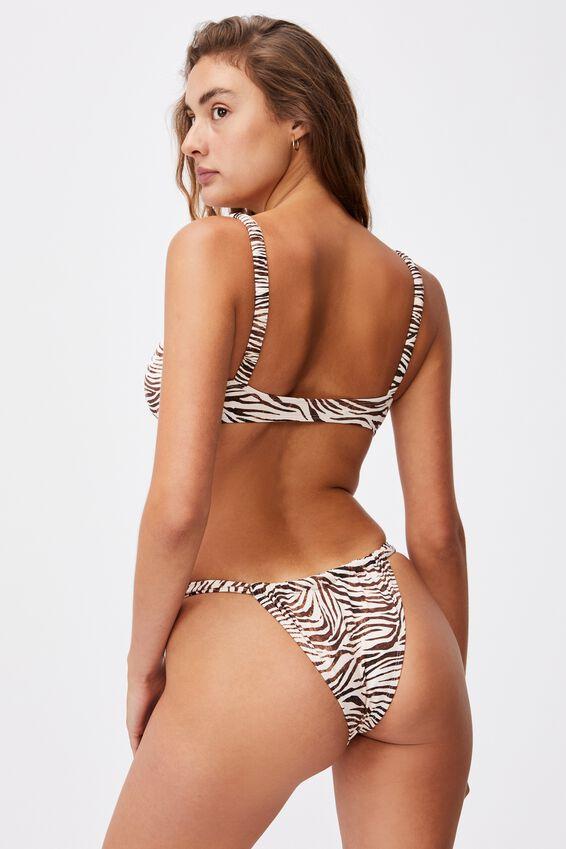 Gathered Strap Brazilian Bikini Bottom Mm, MOTLED ZEBRA