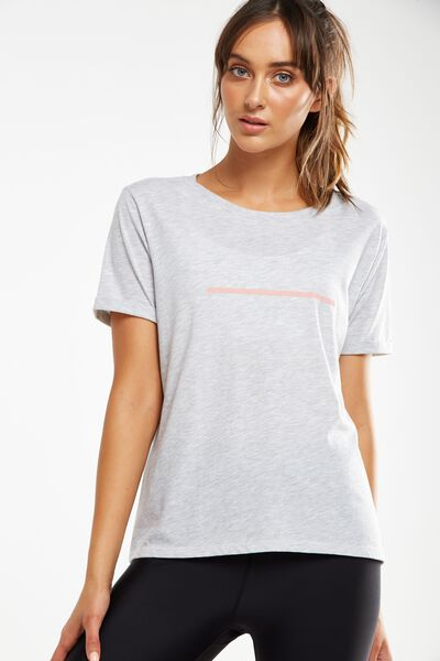 Slogan T Shirt, GREY MARLE/LINEWORK