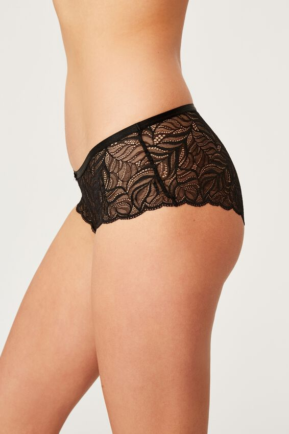 Summer Lace Boyleg Brief, BLACK