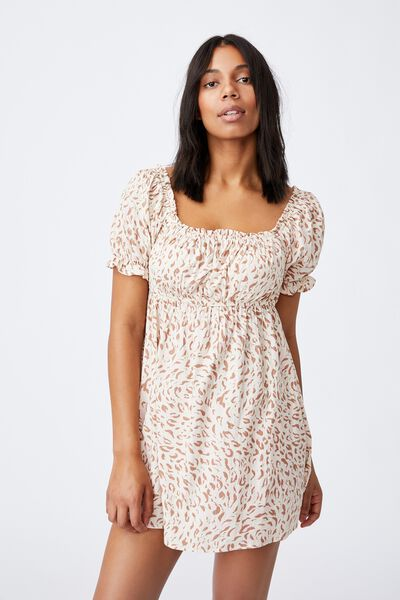 Puff Sleeve Beach Dress, MOVEMENT LEOPARD