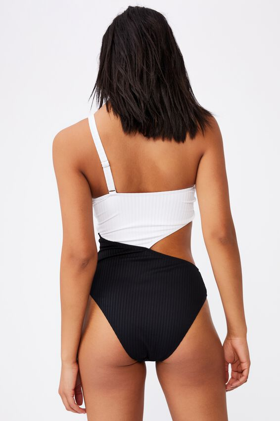 One Shoulder Cut Out One Piece Cheeky, WHITE/BLACK RIB