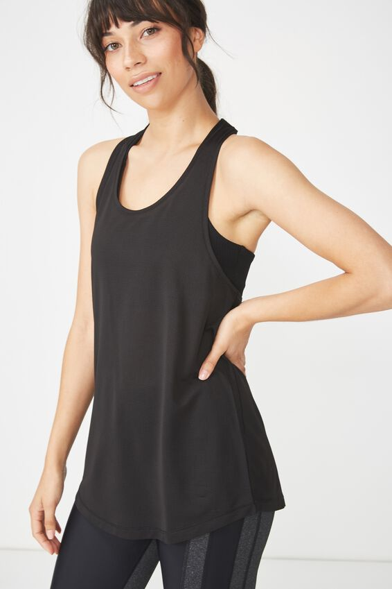 Elastic Back Tank Top, BLACK