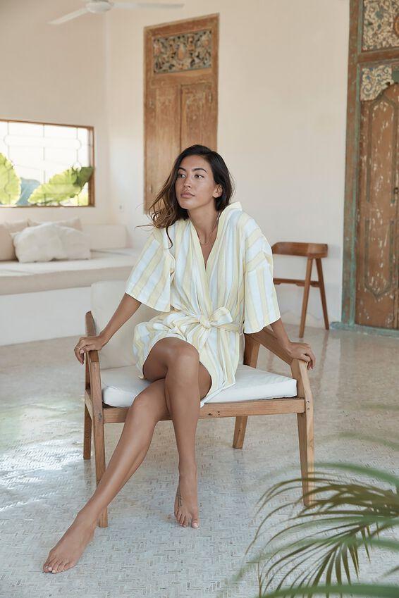 Woven Kimono, SEASIDE STRIPE/LEMONADE
