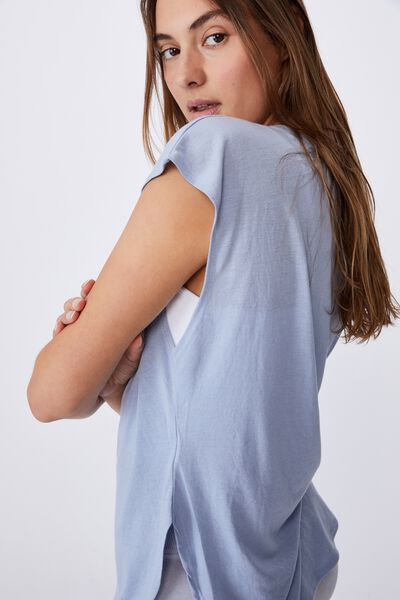 Active Scoop Hem Tshirt, BALTIC BLUE