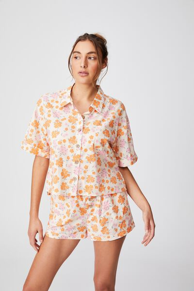 Washed Woven Sleep Set, FLORAL BUNCH DITZY ORANGE