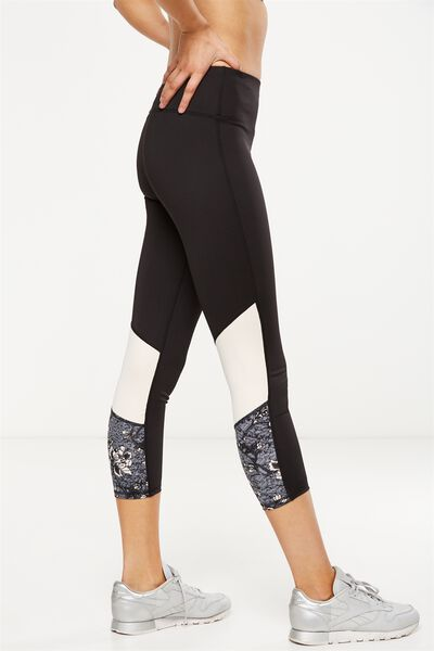 Recycled Highwaisted Yoga 7/8 Tight, BLACK/IMPERIAL FLORAL