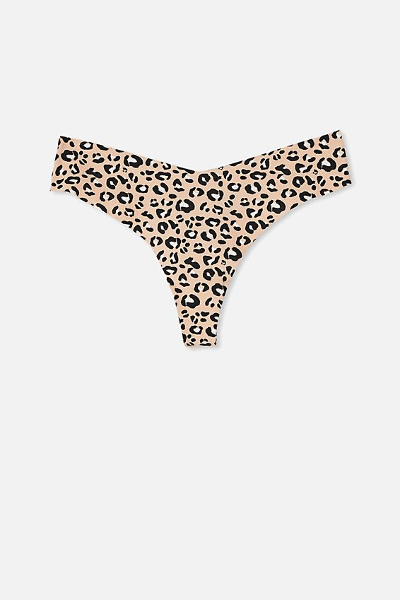 The Invisible G String Brief, LOUNGE LEOPARD BLACK