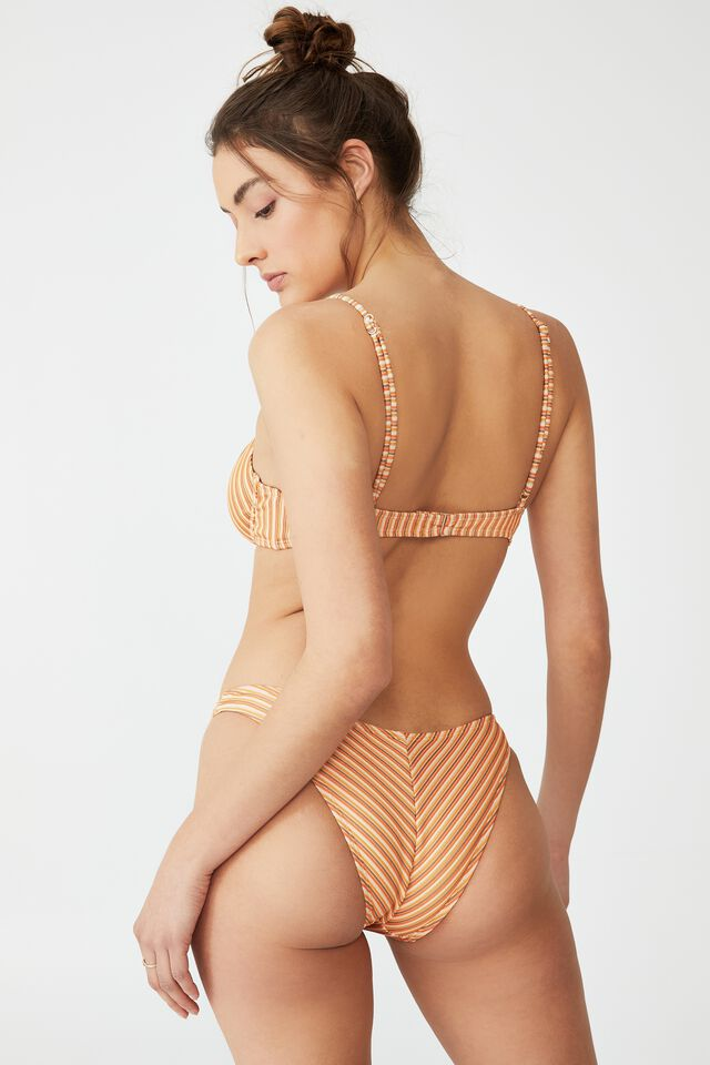 Half Wire Bra Bikini Top, CARROT CAKE MULTI LUREX STRIPE