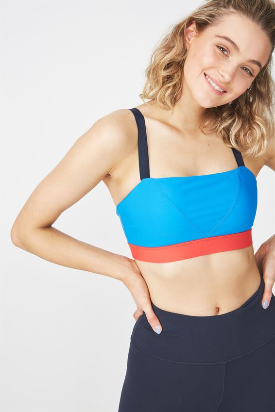 Straight Neck Sports Crop, ELECTRIC BLUE / NAVY