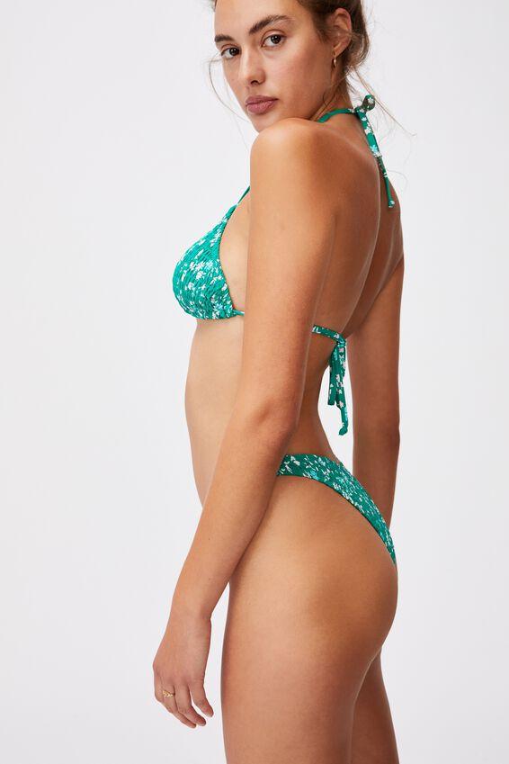 Refined High Side Brazilian Bikini Bottom, EMERALD DITSY DAYS SHIRRED