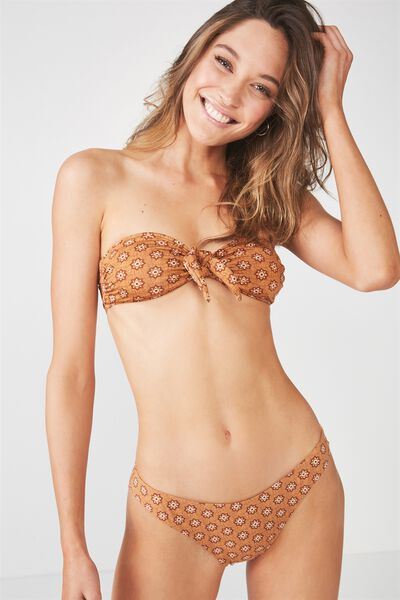 Nixie Tie Bandeau Bikini Top, MAPLE TILE