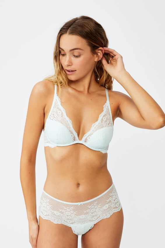 Zoe Plunge Contour Bra, BLUE GLASS