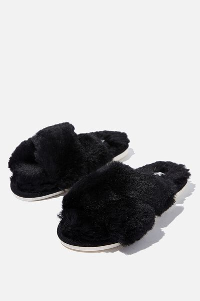 Arlie Crossover Slipper, BLACK