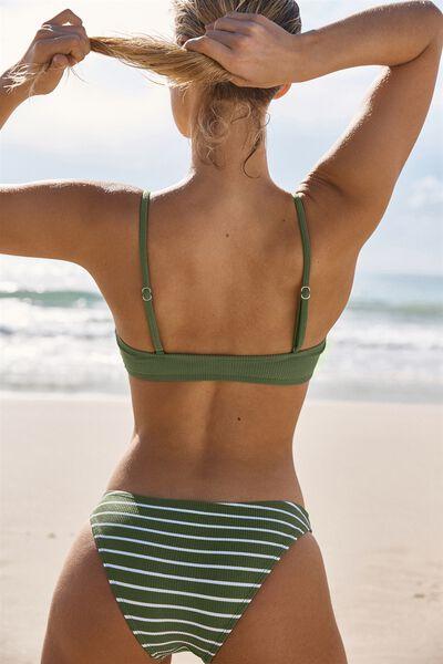 Scoop Crop Bralette Bikini Top, COOL AVOCADO RIB