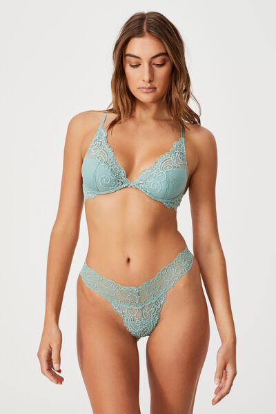 Ainsley Lace G String Brief, SMOKED GREEN