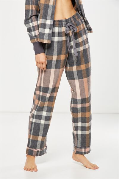 Non Cuffed Flannel Pant, CHARCOAL CHECK